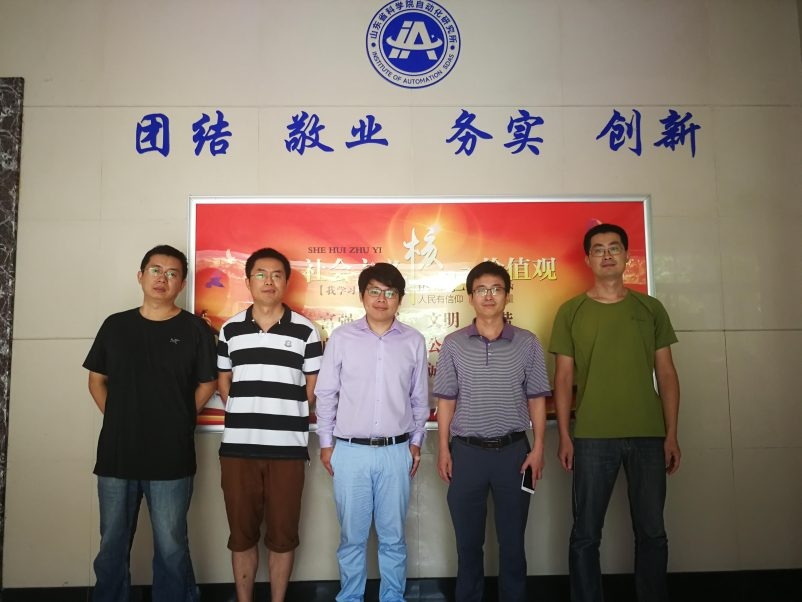 Doctoral candidate Chao Zhu, from Aalto University, visits the Institute of Automation Shandong Academy, China in August 2018.