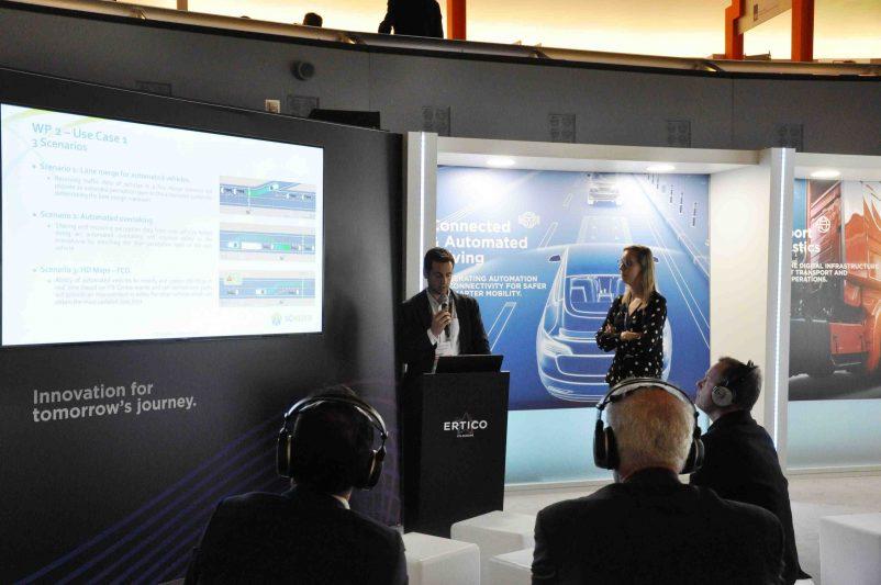 João Moutinho of Centro de Computação Gráfica presenting 5G-MOBIX at ERTICO booth