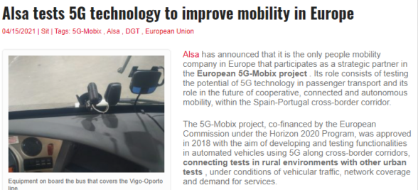 Alsa tests 5G technology to improve mobility in Europe